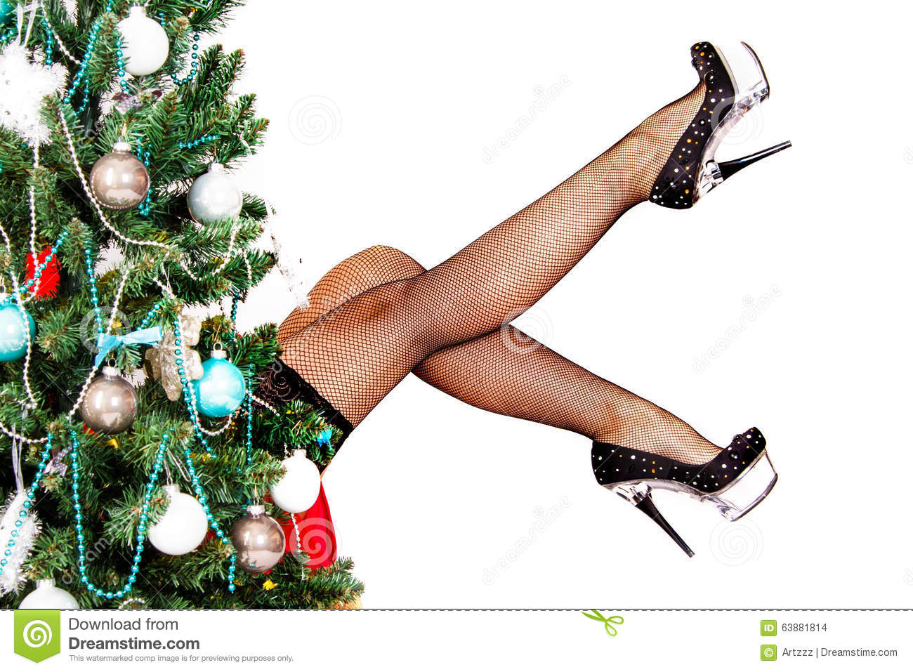 download woman legs behind the christmas tree stock photo image of miss claus