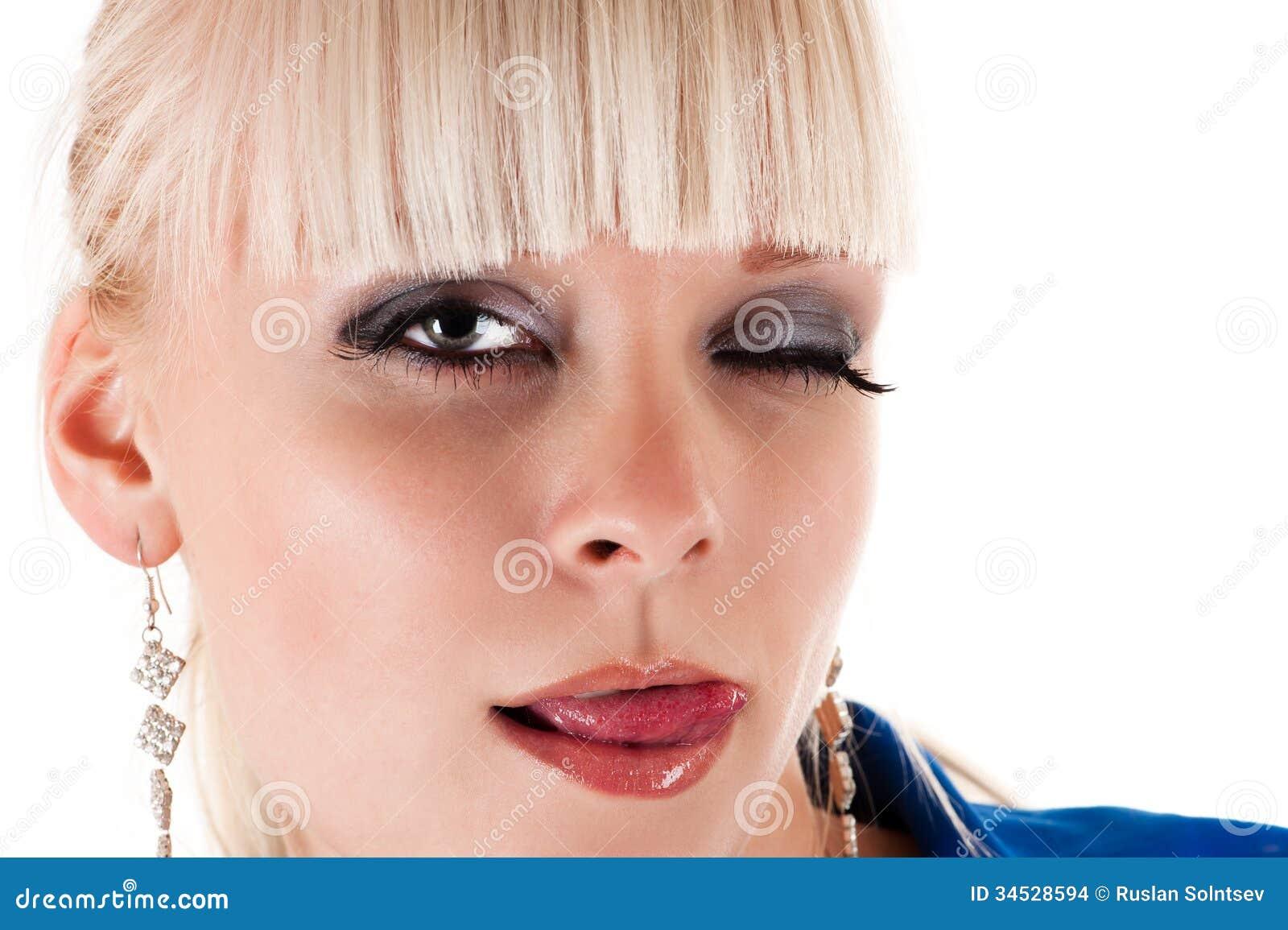 Lick lips woman