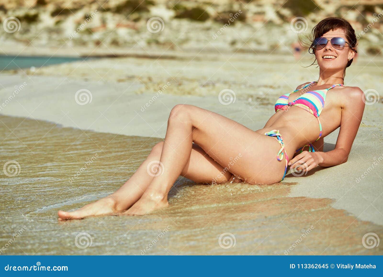On woman beach lying Video of