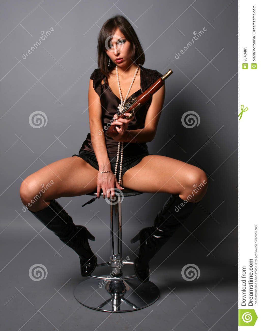 Sexy Woman With A Musket Stock Image Image 9043481