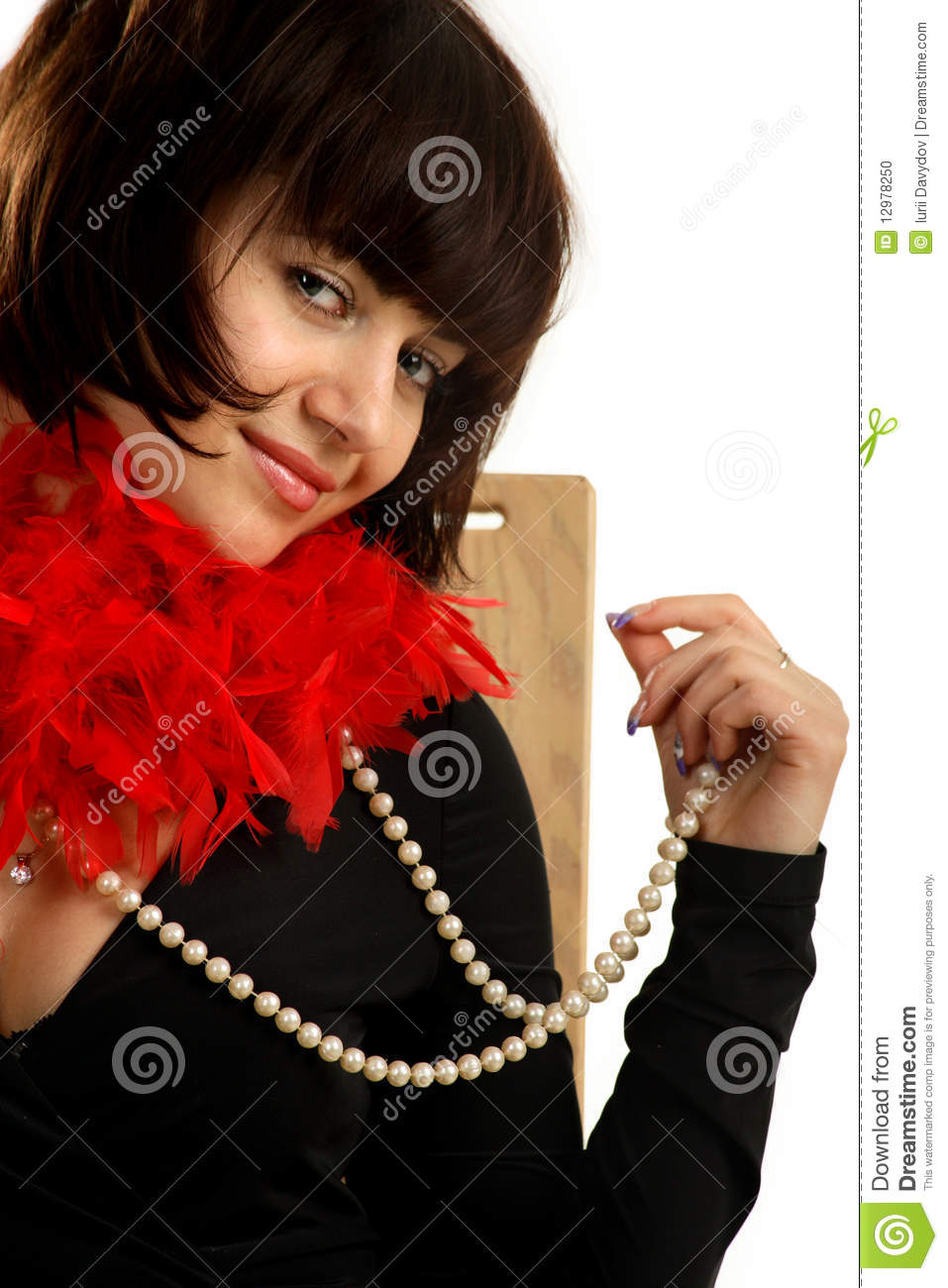 Woman With A Pearl Necklace Stock Photo