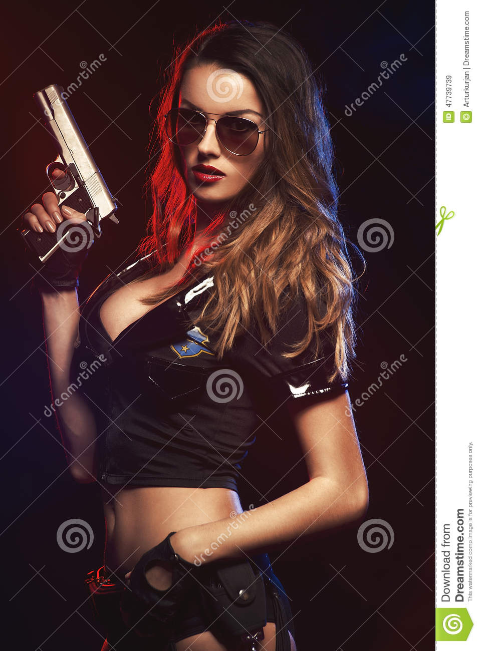 woman with police uniform