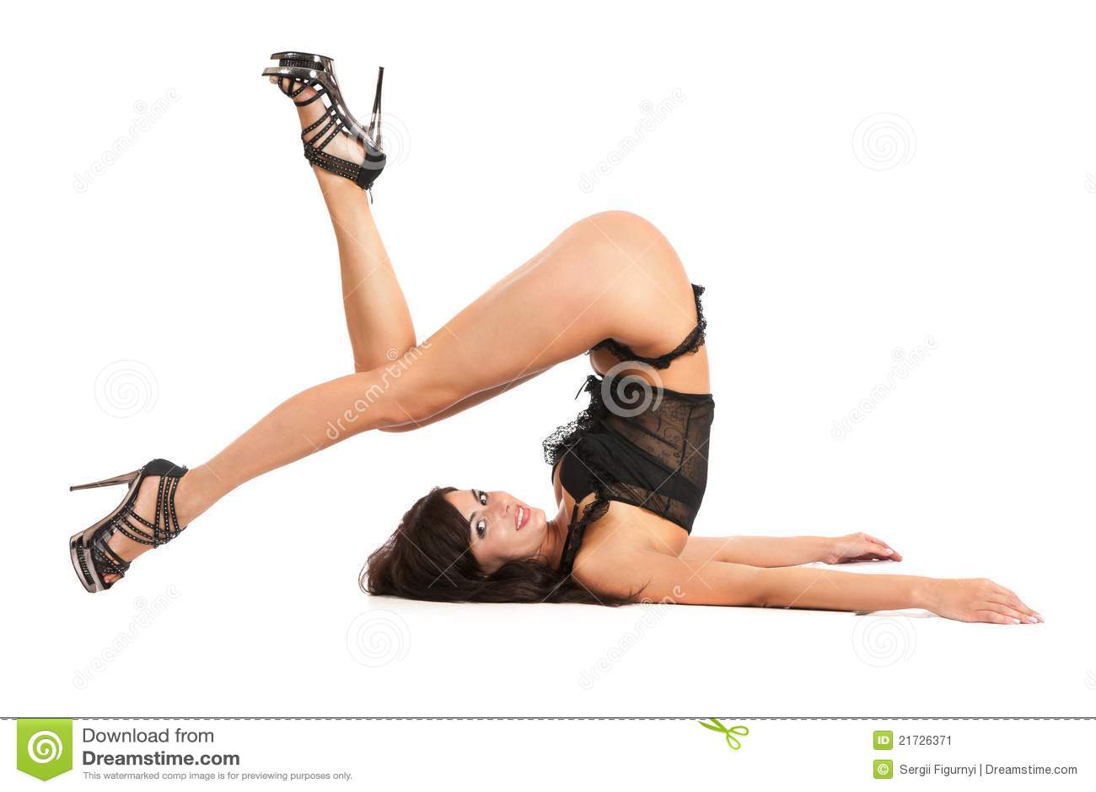 Beautiful girl practicing yoga in swimsuit thong
