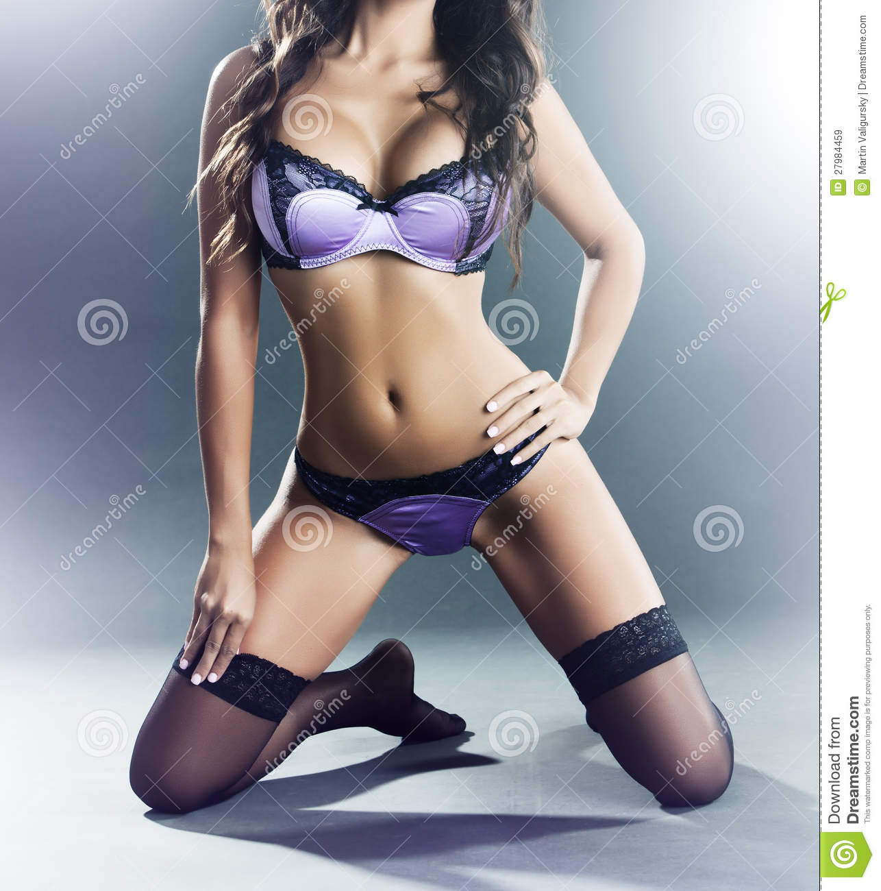 Woman In Purple Lingerie And Stockings Royalty Free Stock Images ...