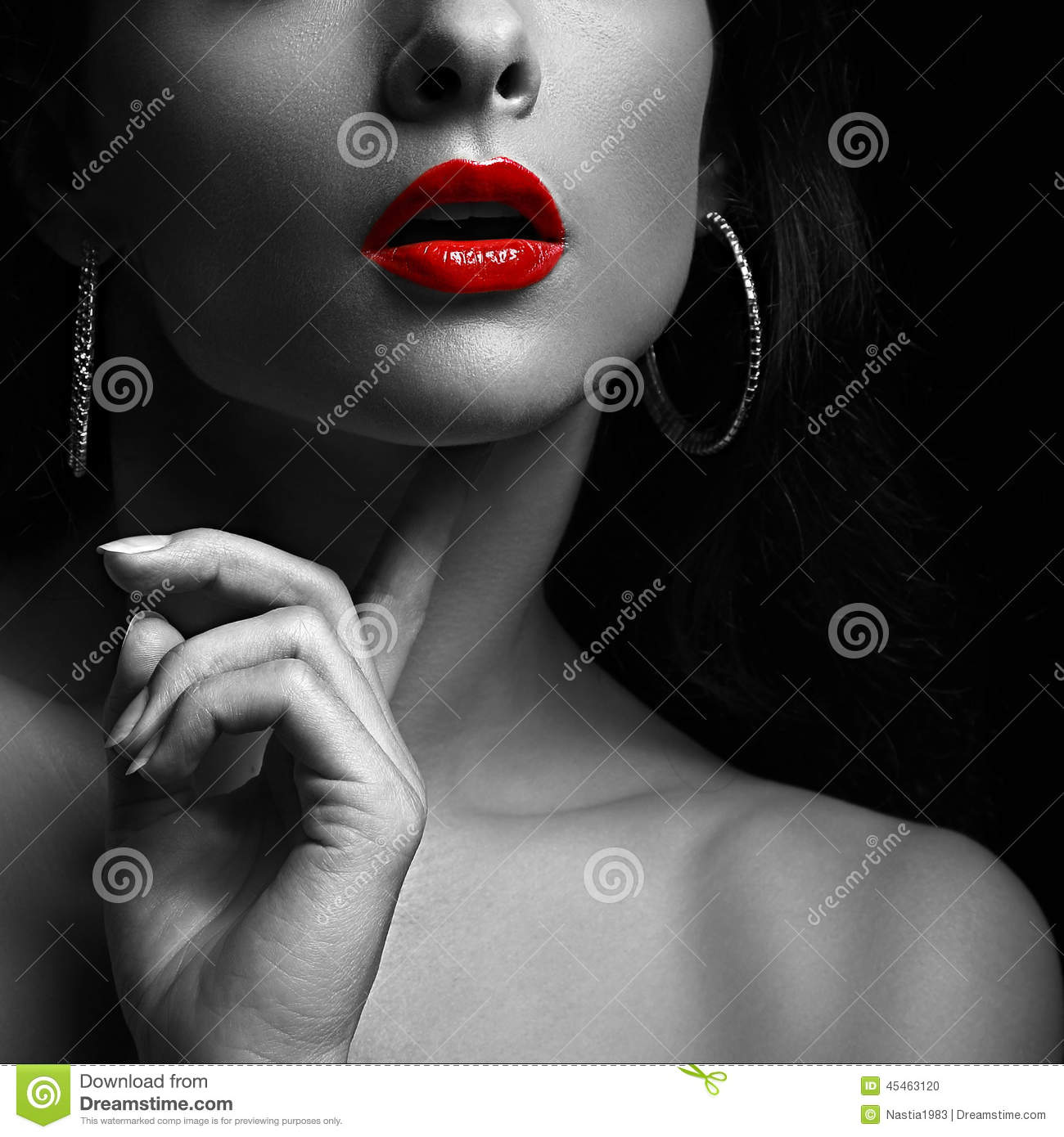 Woman With Red Lips Black And White Portrait Stock Photo Image Of