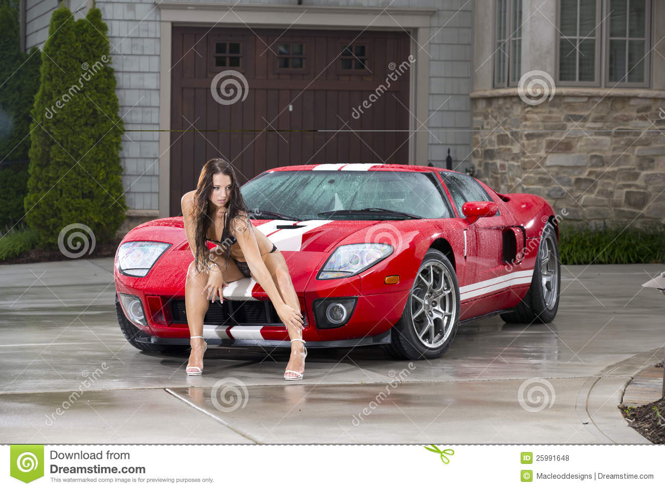 woman with red sports car