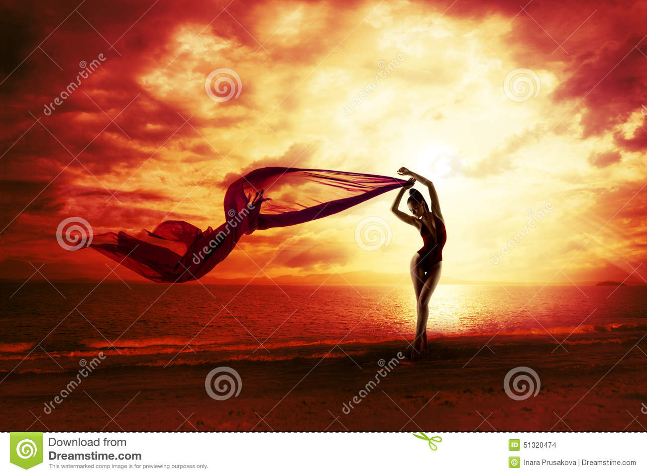 Woman Silhouette over Red Sunset Sky, Sensual Female Beach