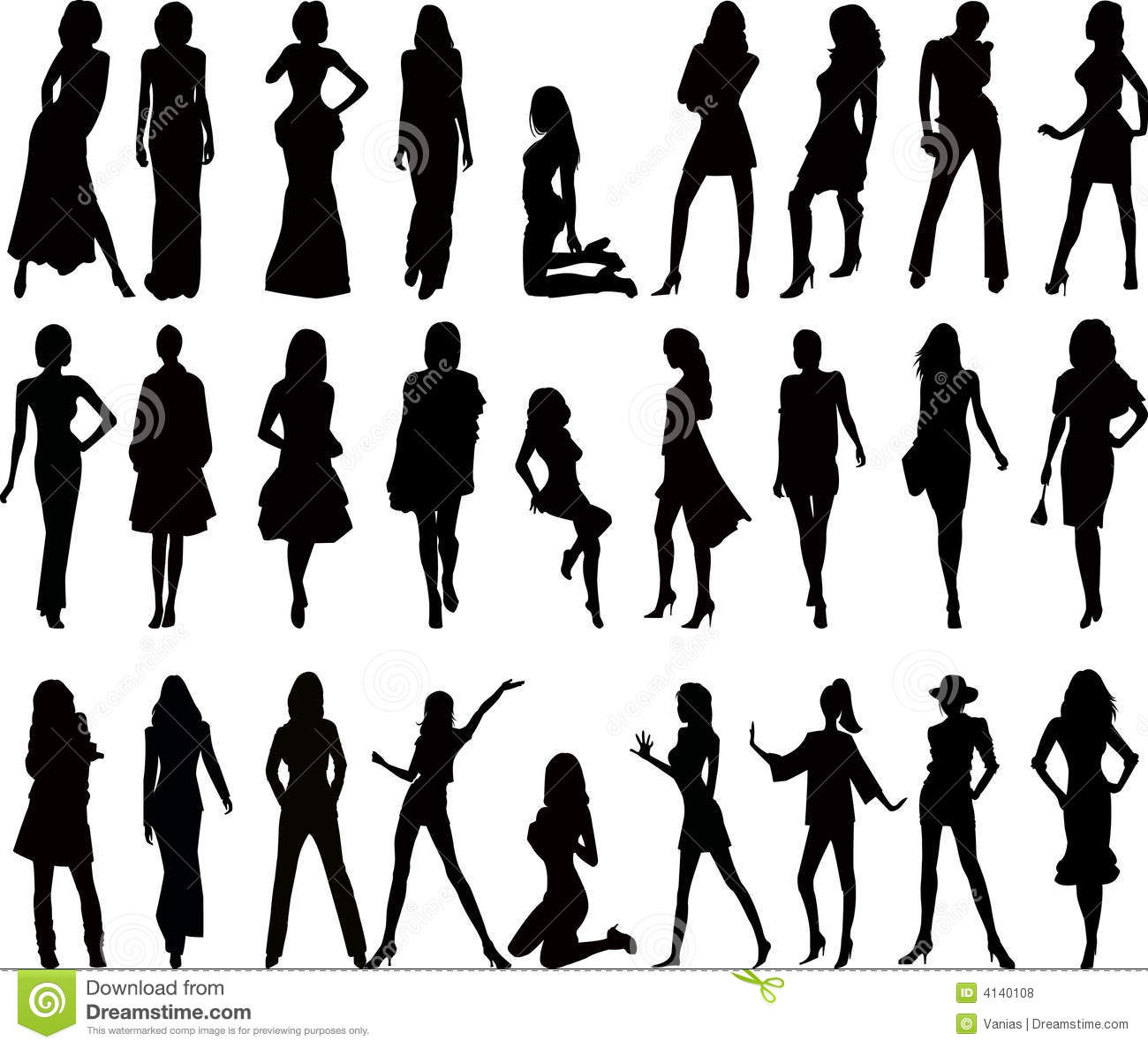 Woman Silhouettes Vector Stock Vector Image Of Music 4140108