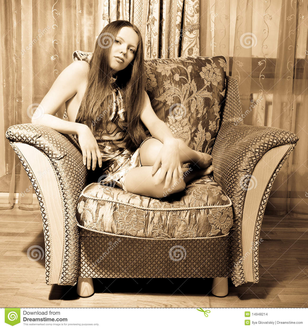Sexy woman sitting on the armchair stock images image for Sitting in armchair
