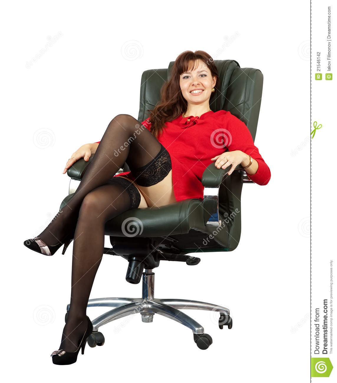 Woman sitting on office armchair stock photo image of for Sitting in armchair