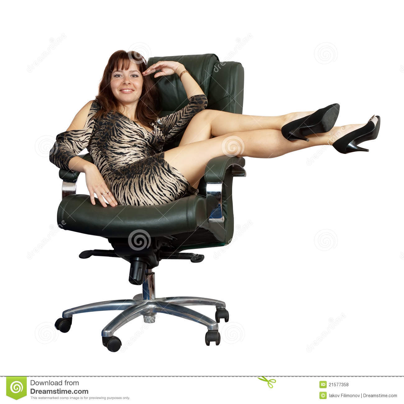 Sexy woman sitting on office armchair royalty free stock for Sitting in armchair