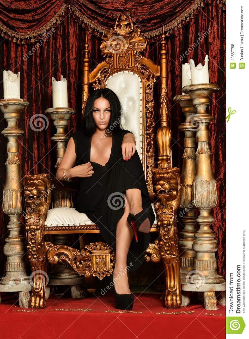 Woman Sitting On Throne Stock Photo Image: 43557758