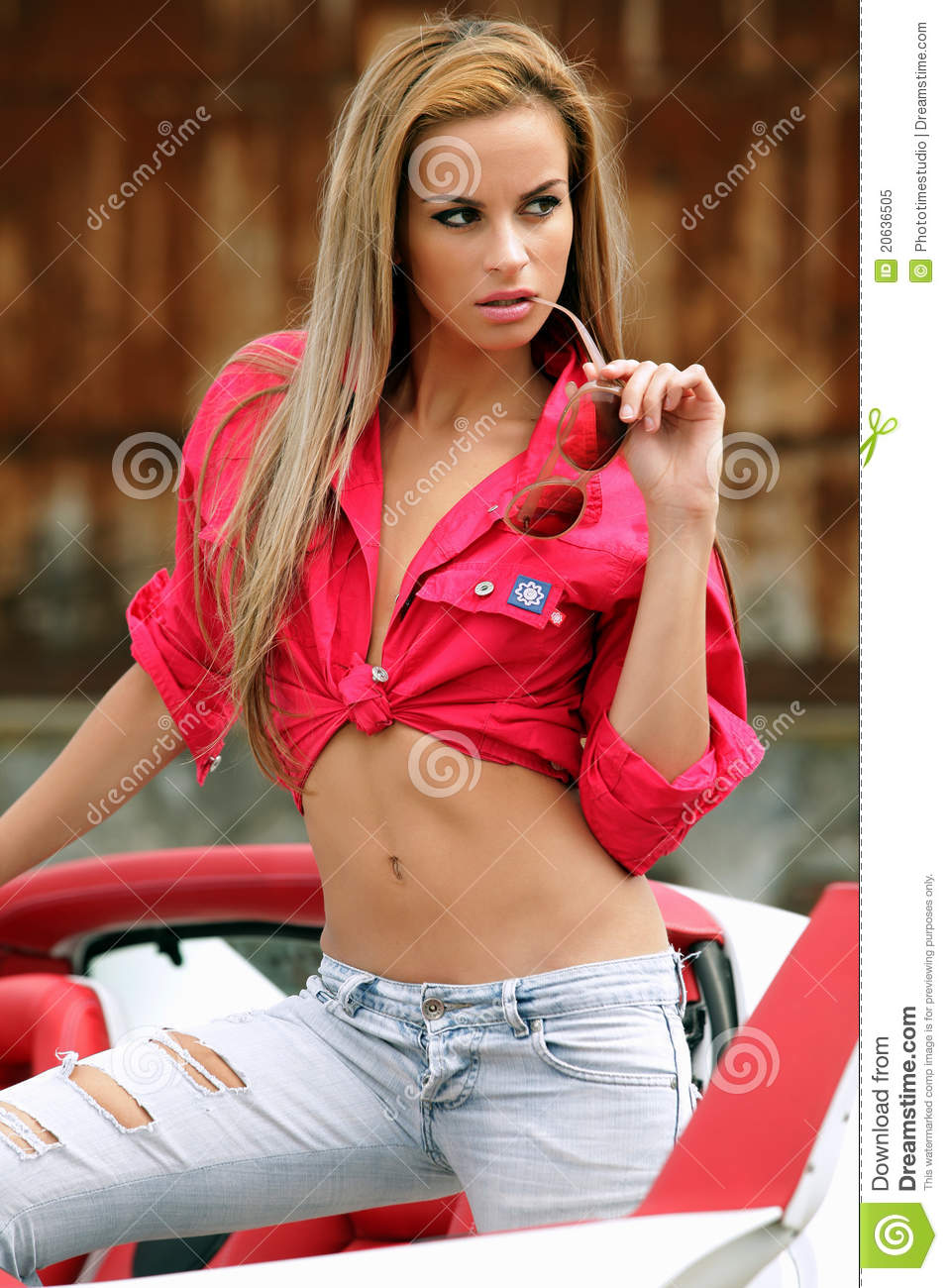 woman in sports car