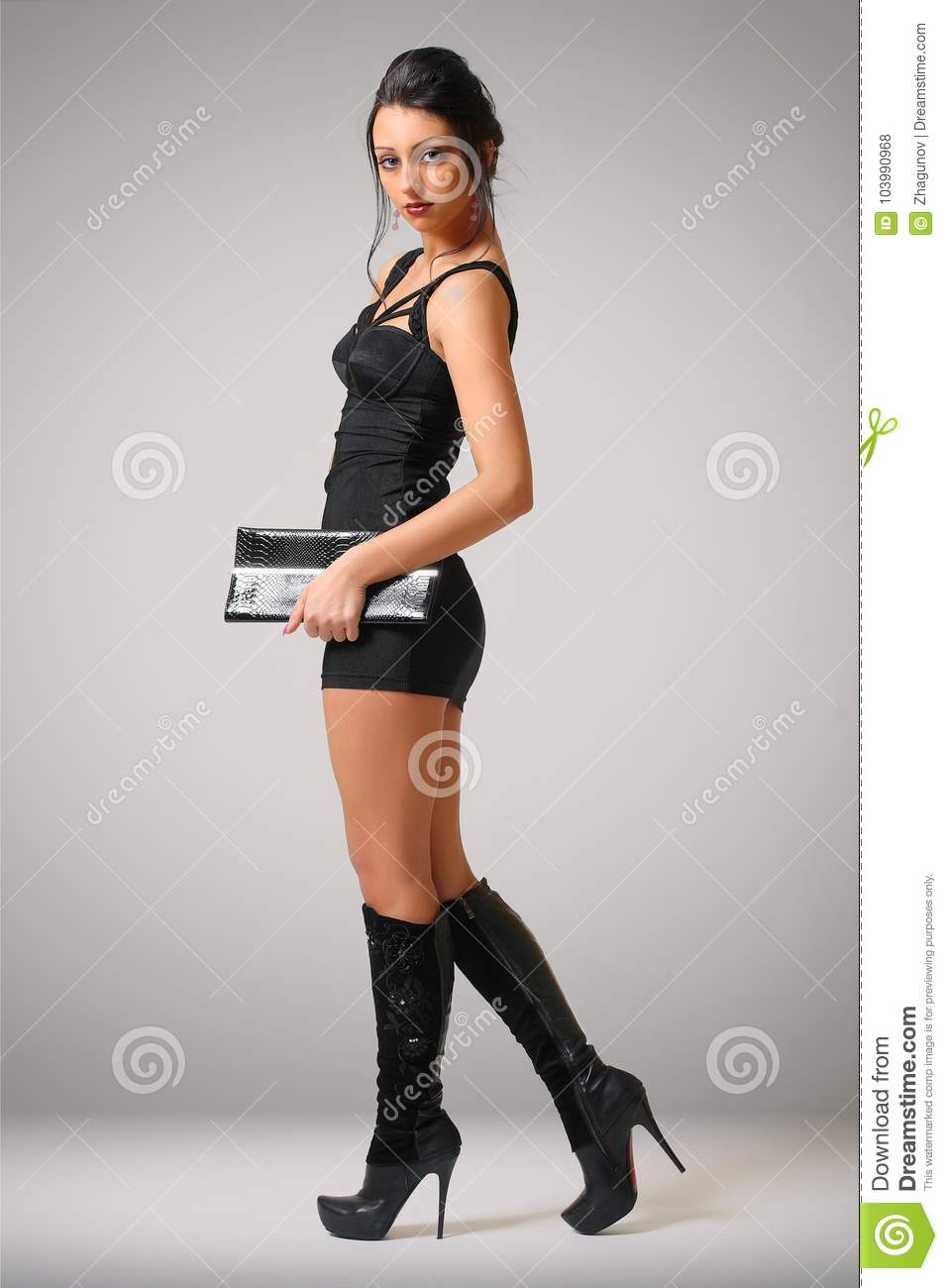 8f08a22d268b Woman in tight black dress stock photo. Image of fashion - 103990968
