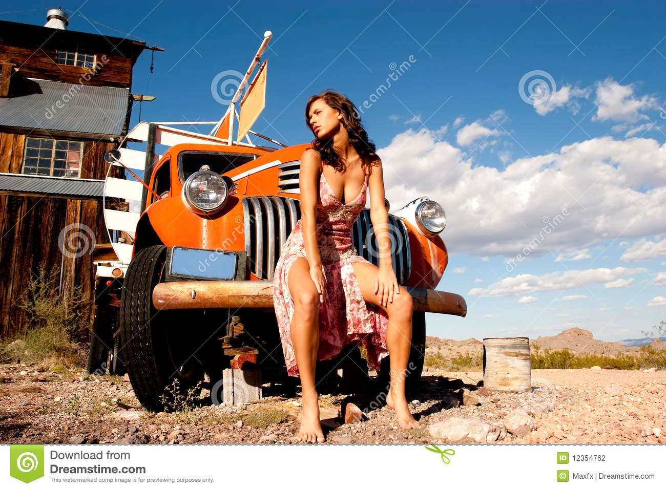 Stock Photography: Sexy woman with truck