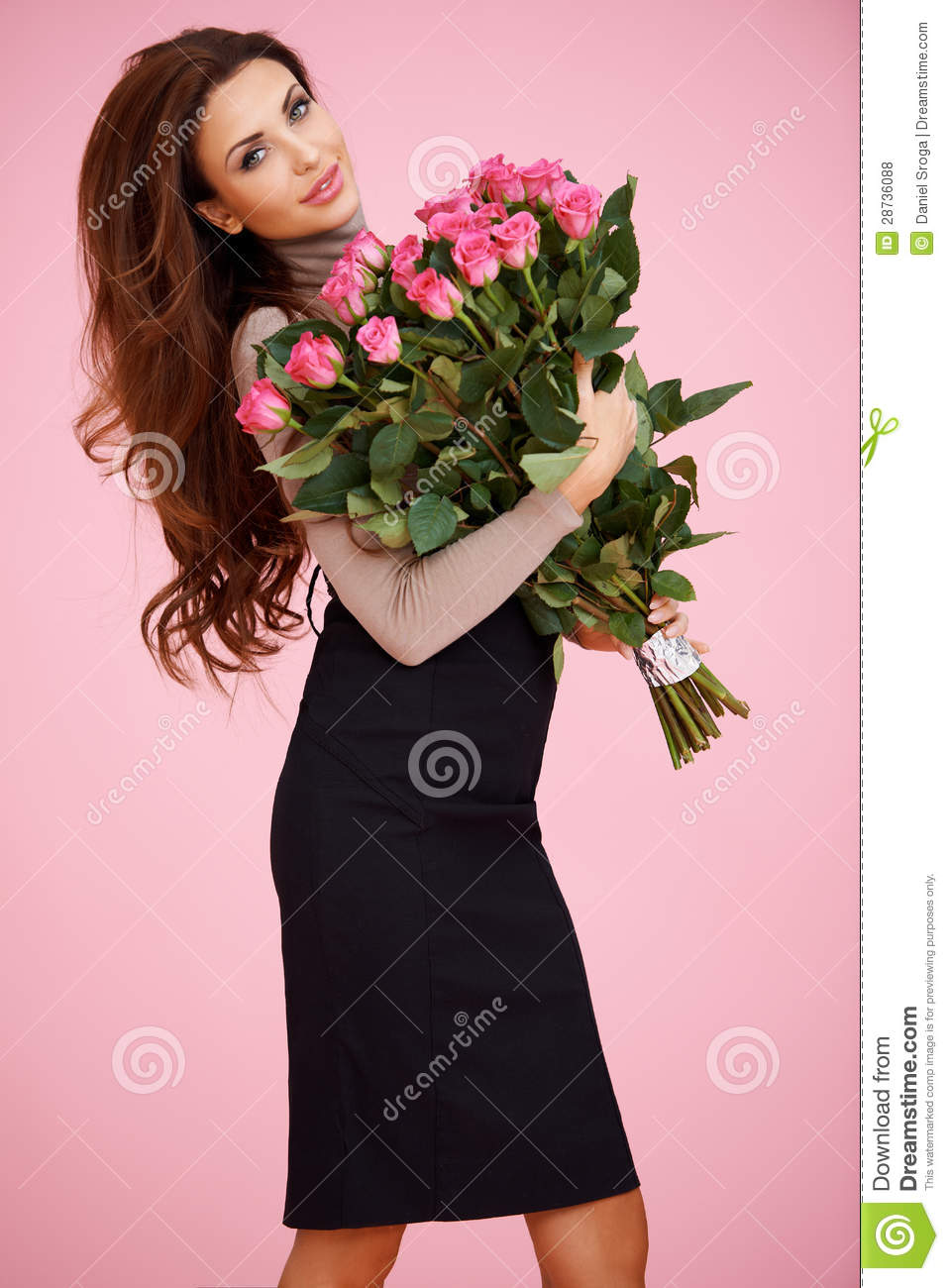 Woman With Valentine Roses Royalty Free Stock Photos