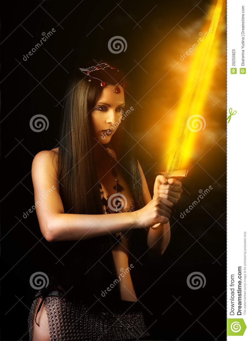 woman warrior with fire sword