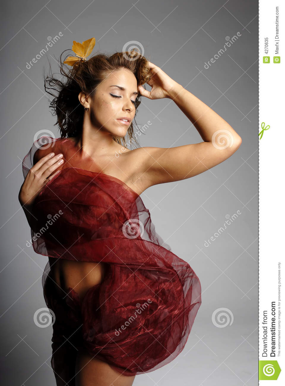 woman wrapped in silk