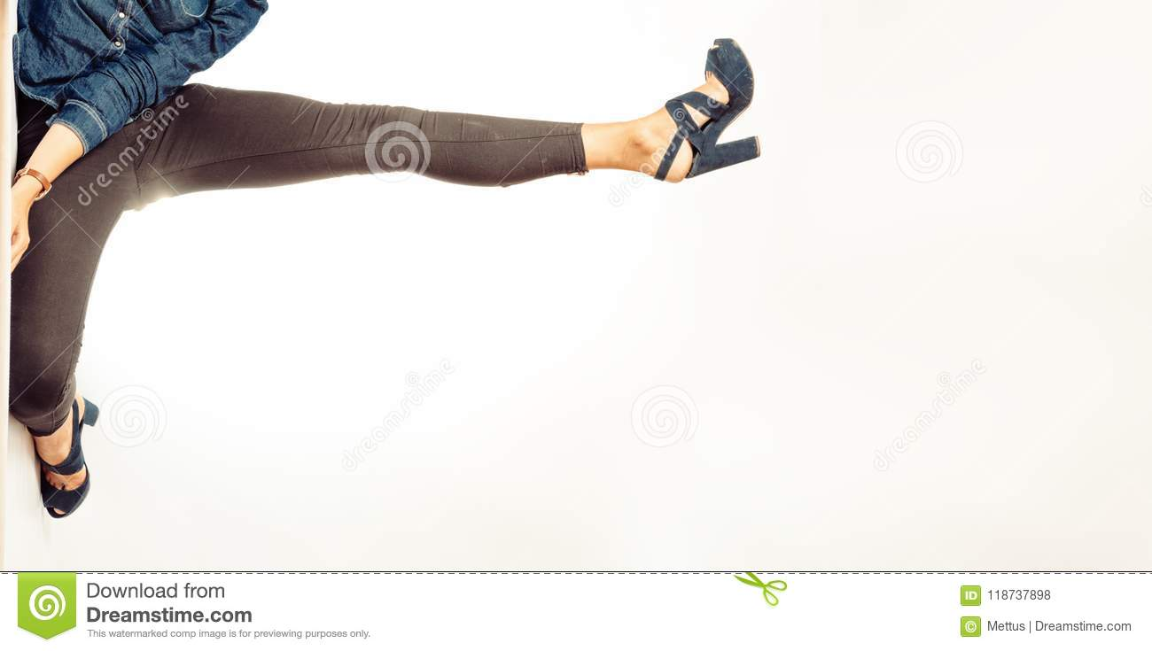 d764741ce3a1 Womanish Leg In Black Jeans Make A Frame For Text Stock Photo ...