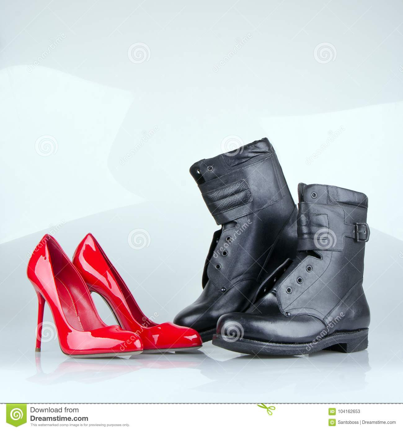 Women`s And Coarse Men`s Shoes Together. Stock Image - Image of work ... 0c8c3ff35