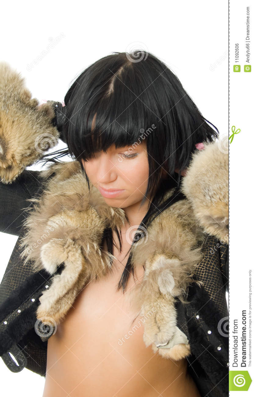 Sexy Young Babe In Fur Coat Royalty Free Stock Image -8817