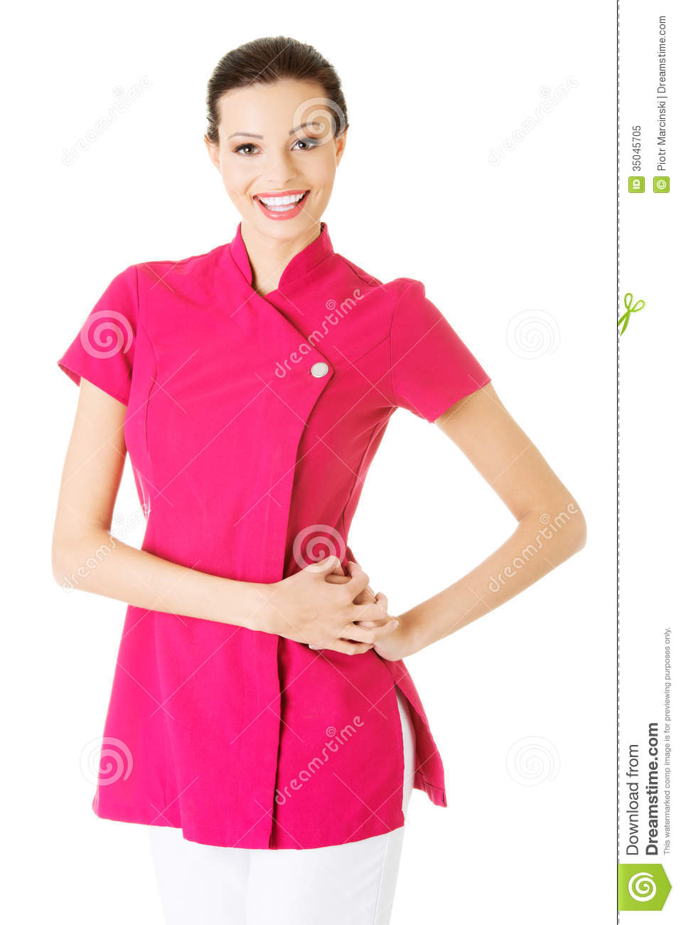 Young masseuse in pink uniform stock image image of for Uniform spa vector
