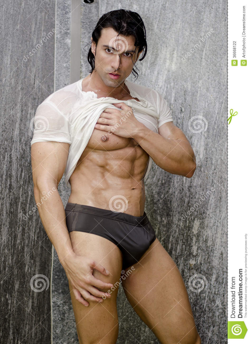 Download Young Muscle Man In A Shower Stock Photo Image Of Muscle Muscular