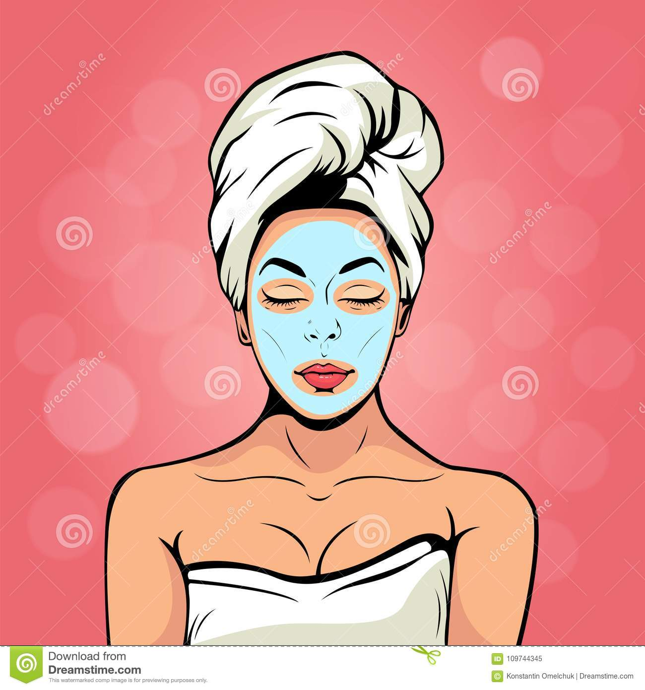 young woman in bath towel with cosmetic mask on her face. Pop art vector illustration