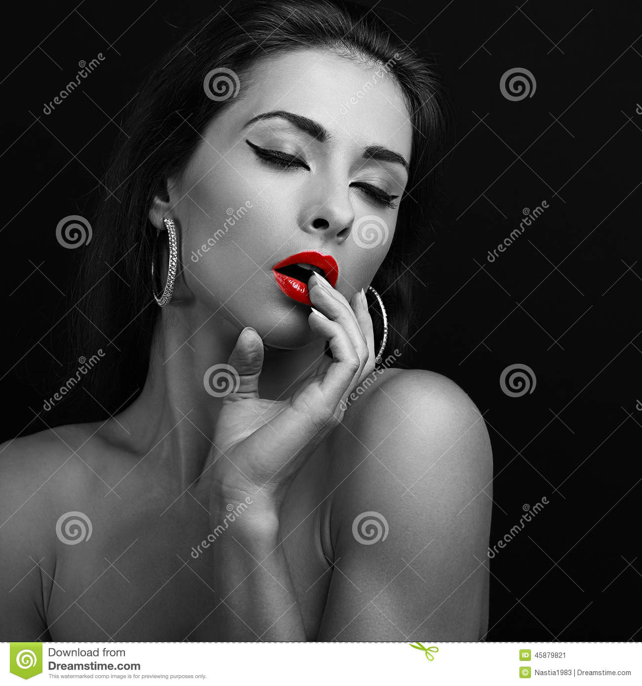 young woman with close eyes touching stock image - image of