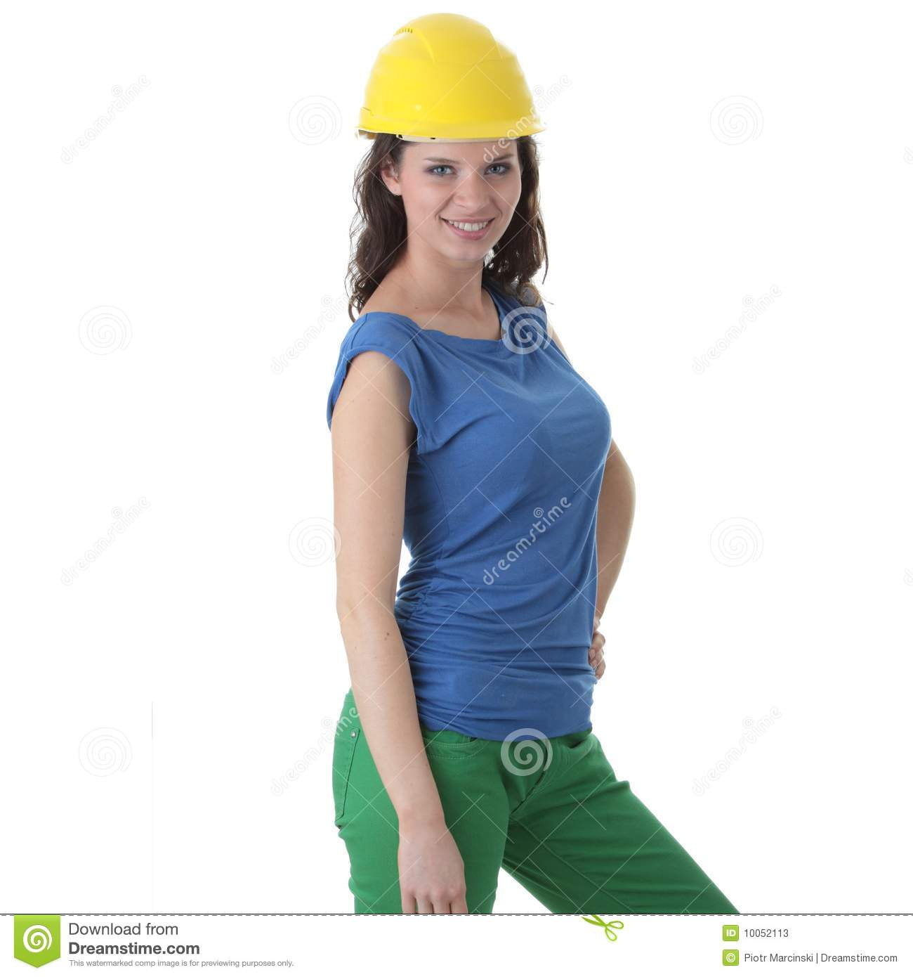 Young woman construction worker contractor stock image for Builder contractors