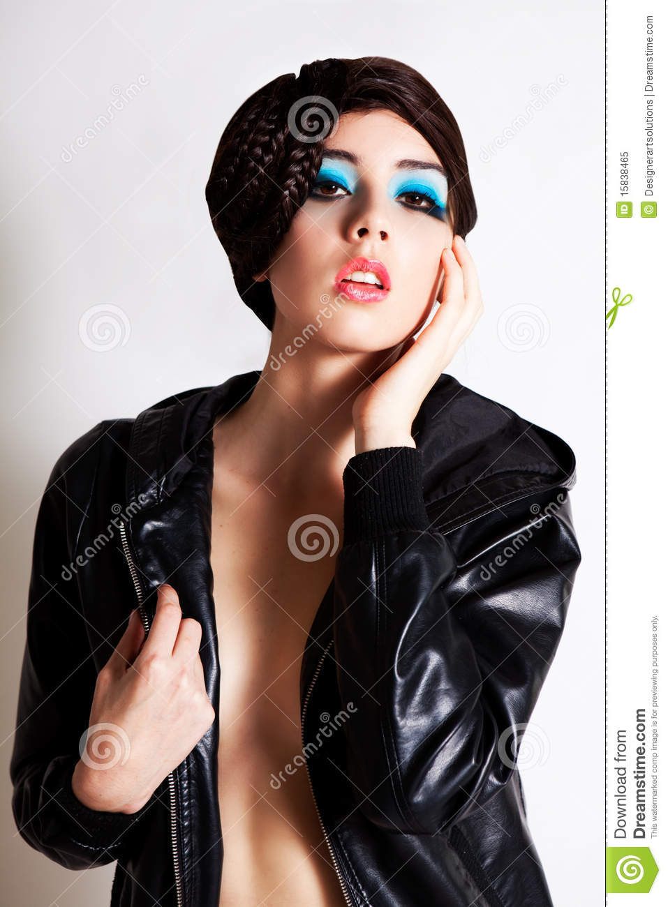 Young Woman In A Jacket With No Shirt Stock Image - Image: 15838465