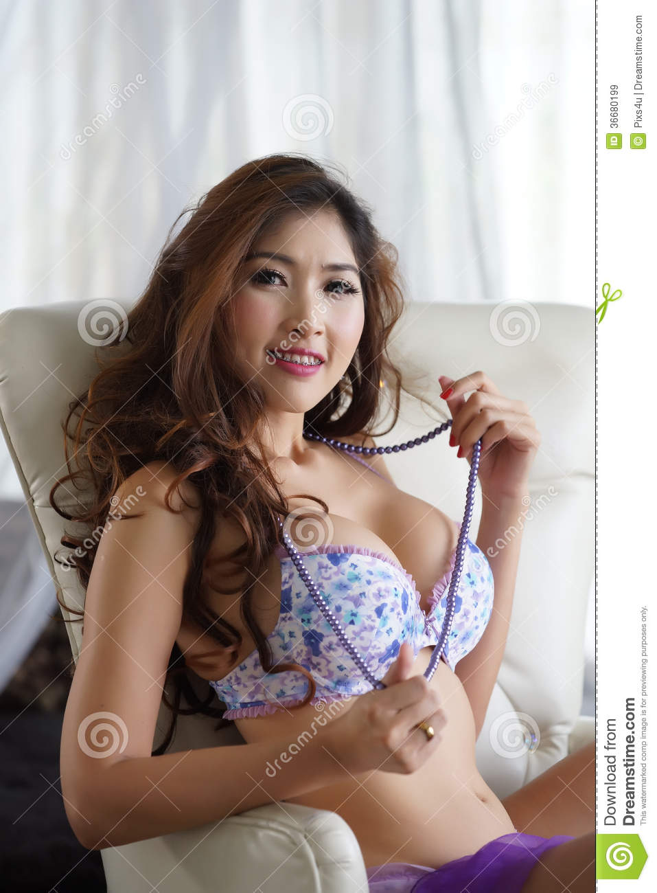 Young Woman In Lingerie Stock Image Image Of Bedroom