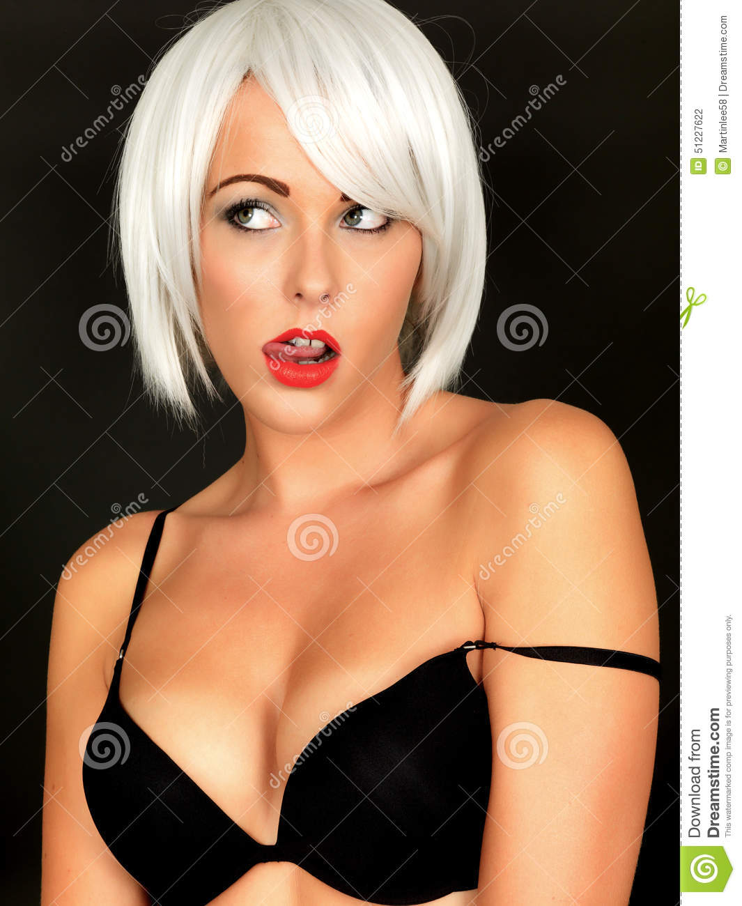 76cc822546d75 Young Woman Wearing Black Bra Licking Lip Stock Photo - Image of ...