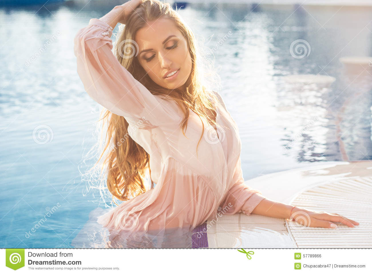 sexy wet woman swimming
