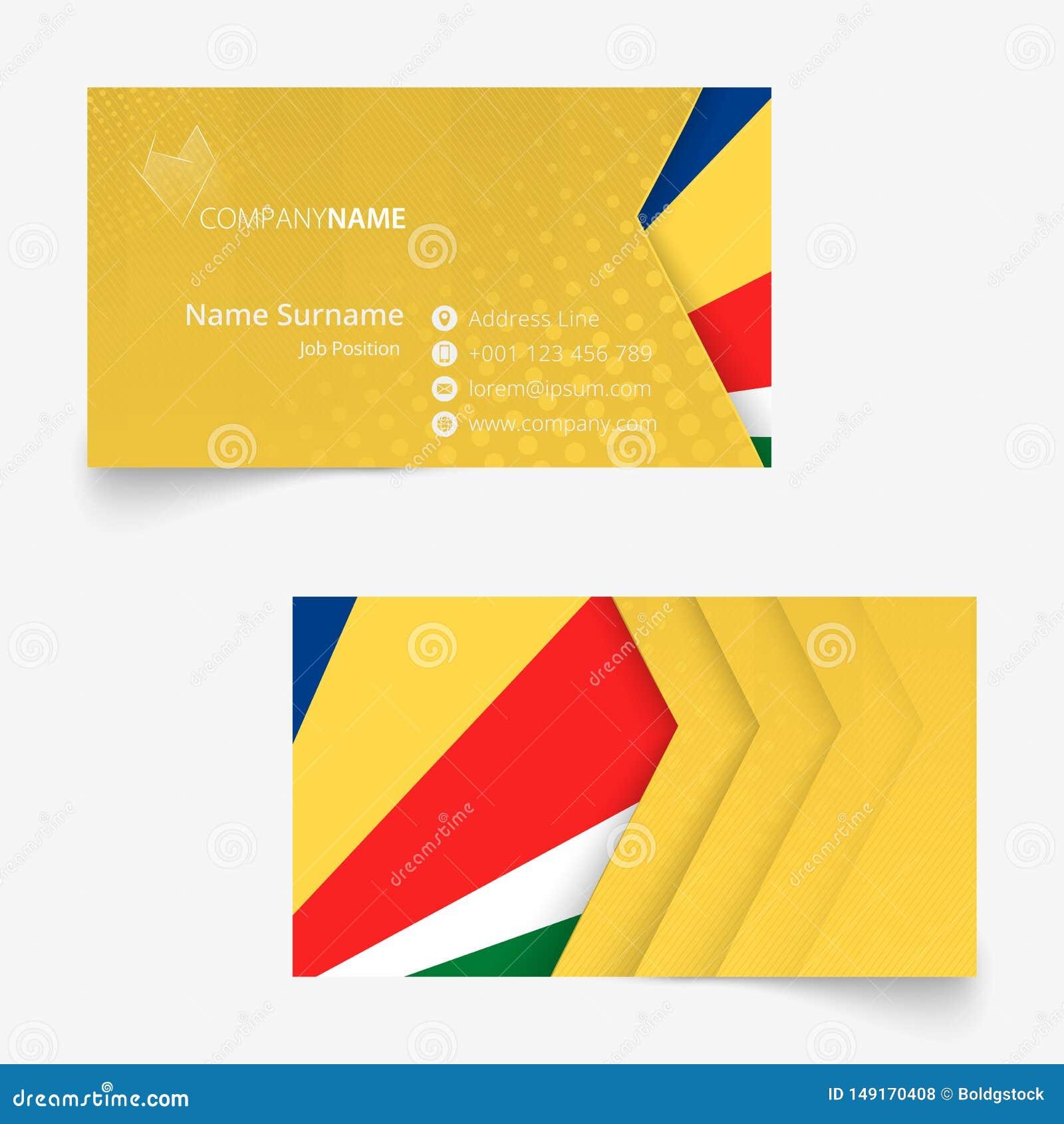 seychelles flag business card standard size 90x50 mm