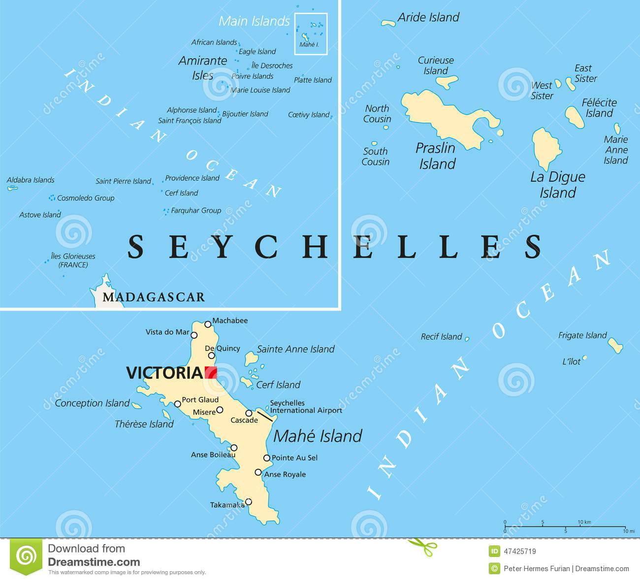 Seychelles Political Map stock vector Illustration of africa 47425719