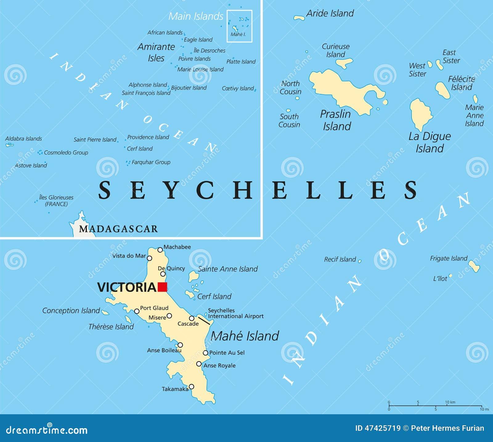 Seychelles Polityczna Mapa Ilustracja Wektor Ilustracja Zlozonej