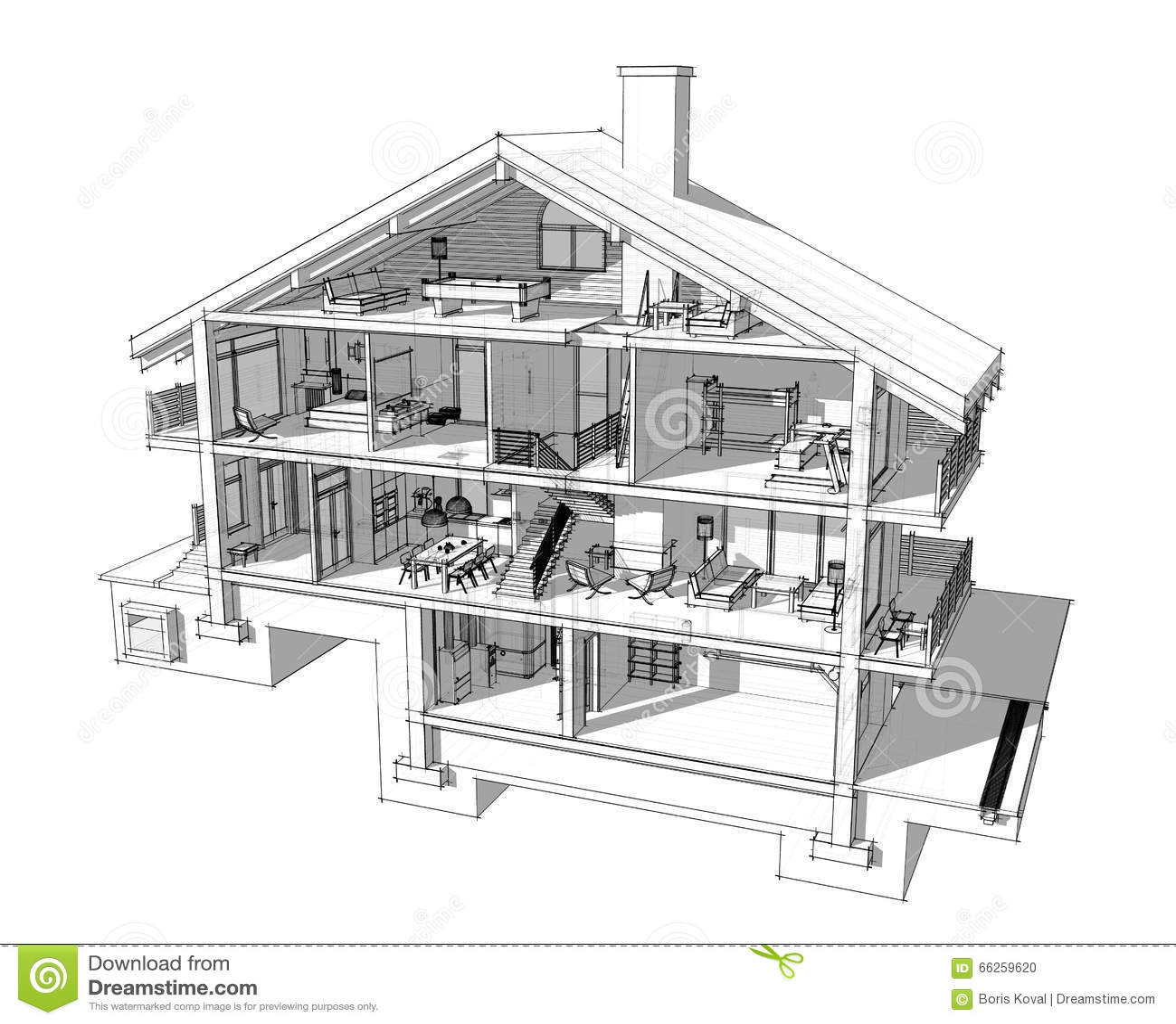 Se tagliamo una casa a met vederemo come stanze suddivise - Progetti per la casa ...