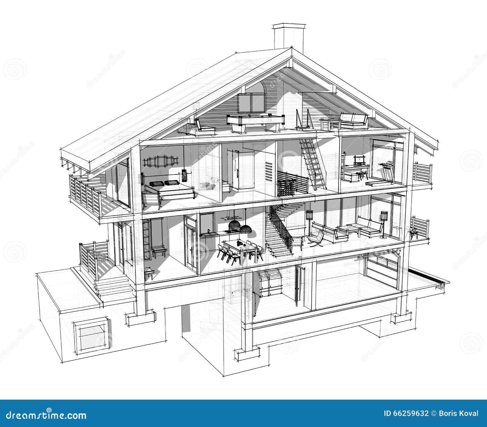 Sezione 3d di una casa di campagna illustrazione di stock for Aprire i piani casa artigiano concetto