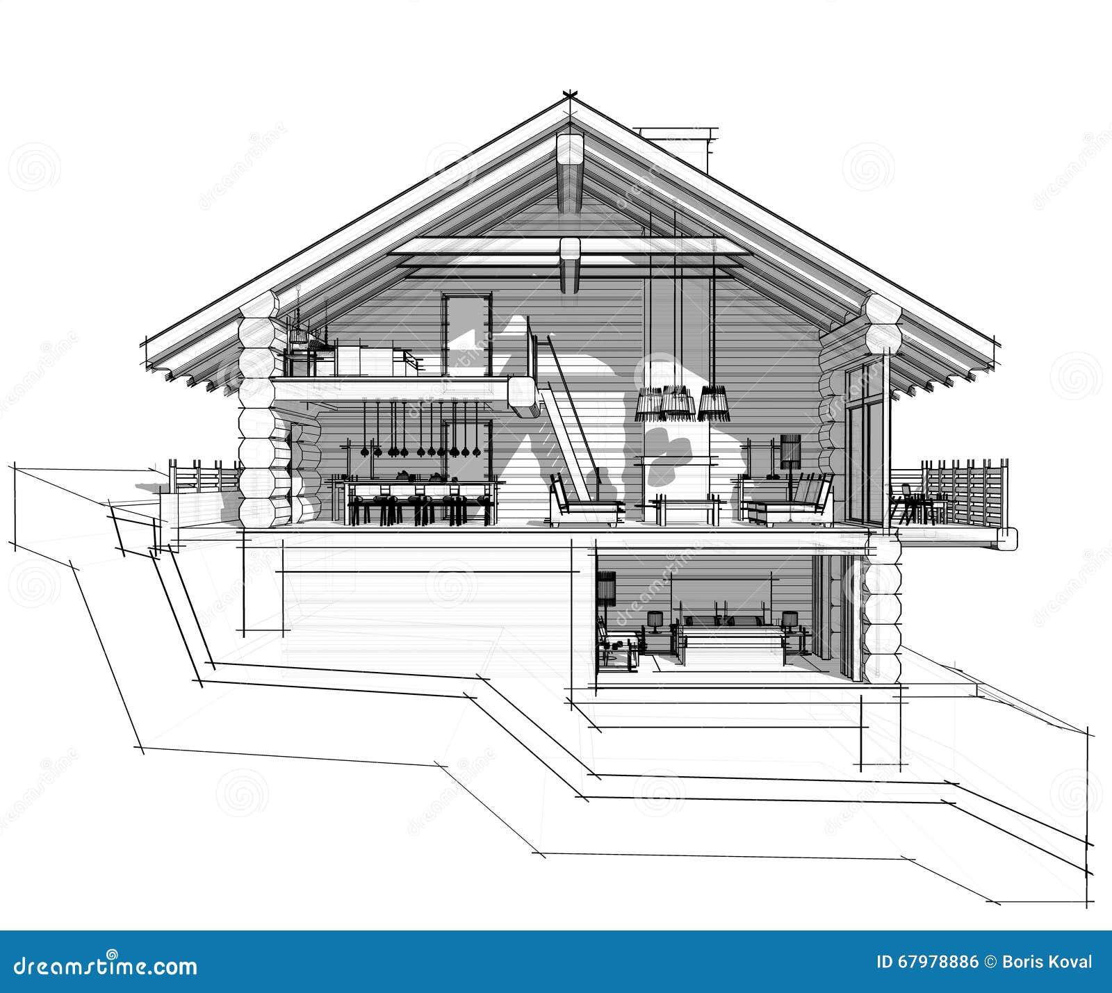 Sezione 3d di una casa di campagna illustrazione di stock for Una pianta di casa chalet cornice