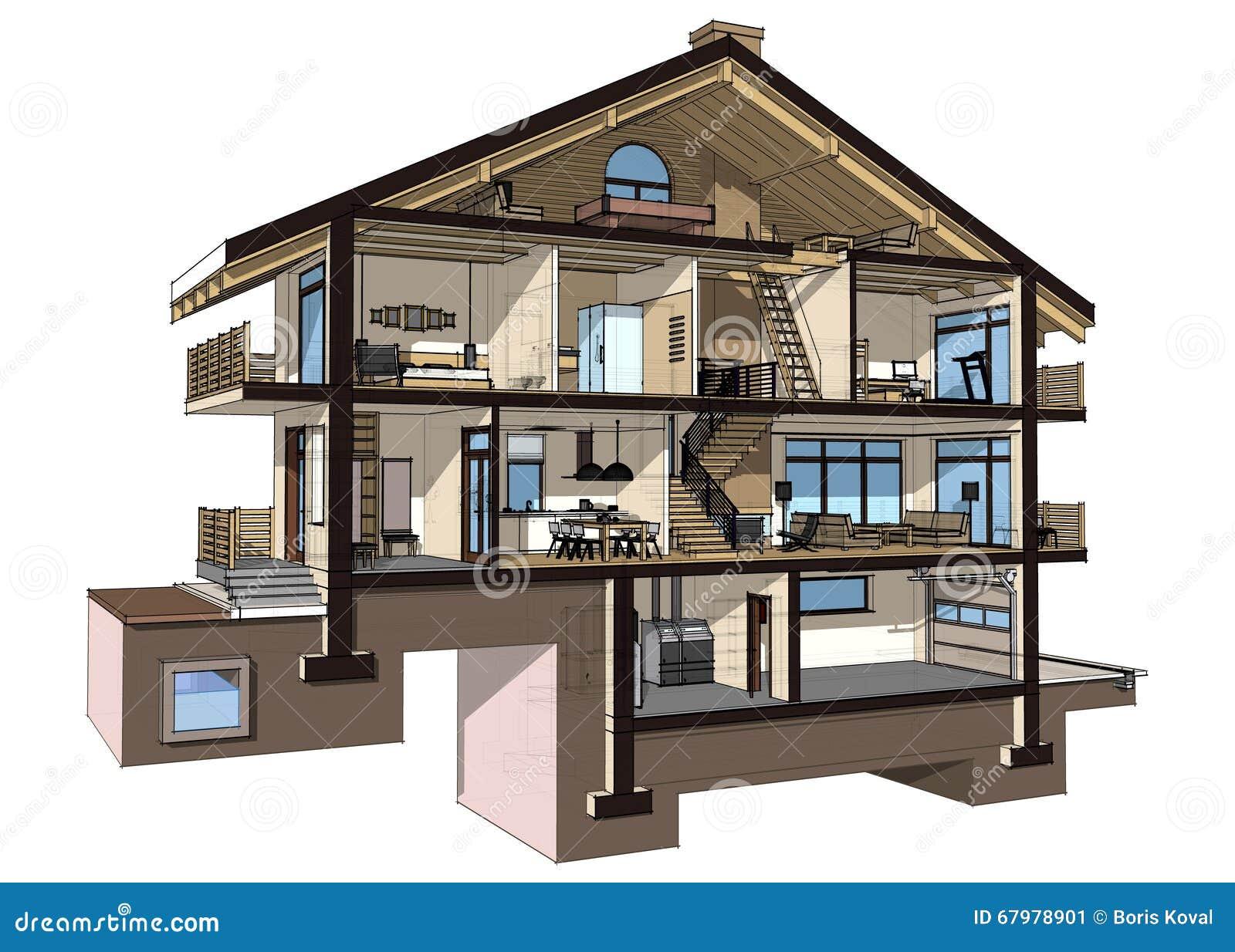 Sezione 3d di una casa di campagna illustrazione di stock for Aprire piani casa seminterrato