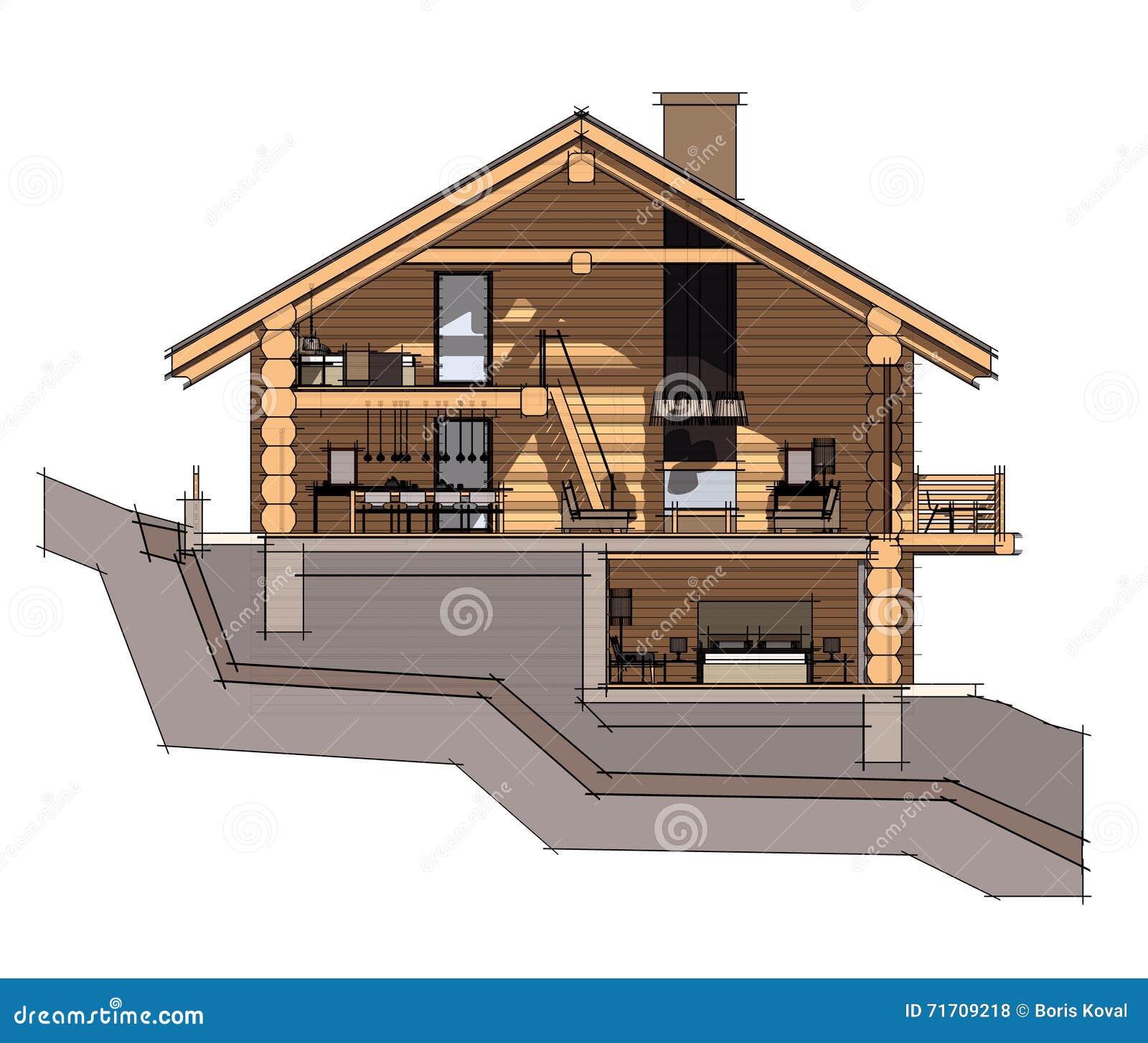 Sezione 3d di una casa di campagna illustrazione di stock for Piano di abbozzo di casa