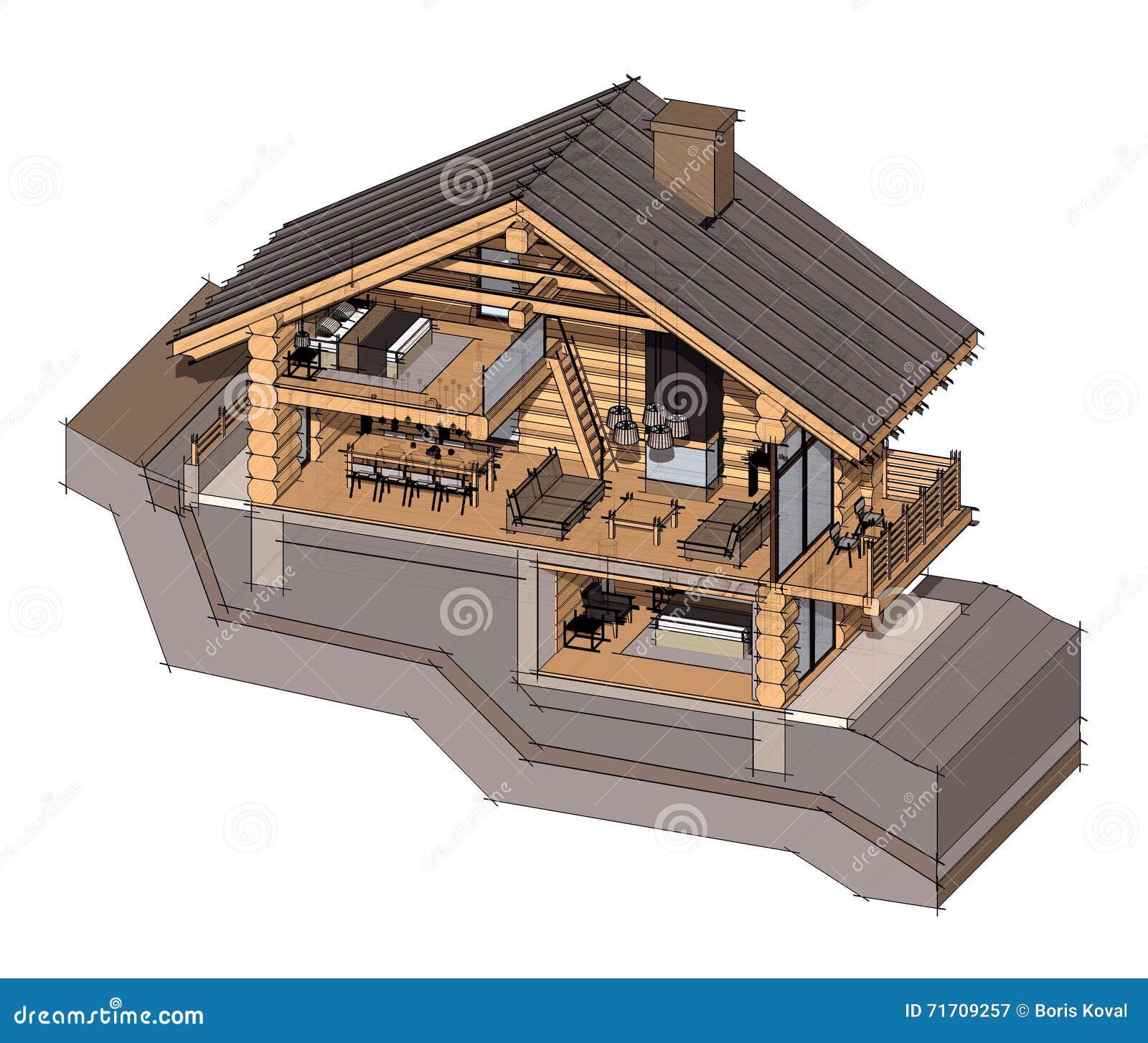 Sezione 3d di una casa di campagna illustrazione di stock for Progetto 3d casa