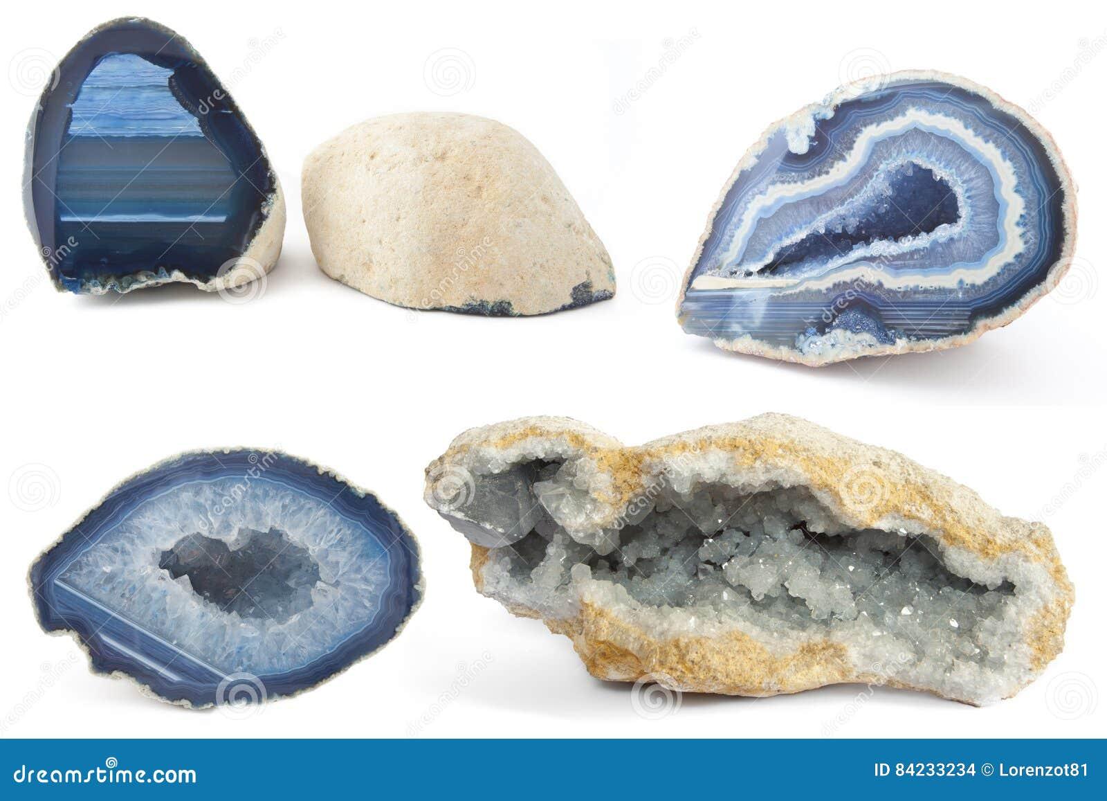 Sezione dei geodi bianchi e blu