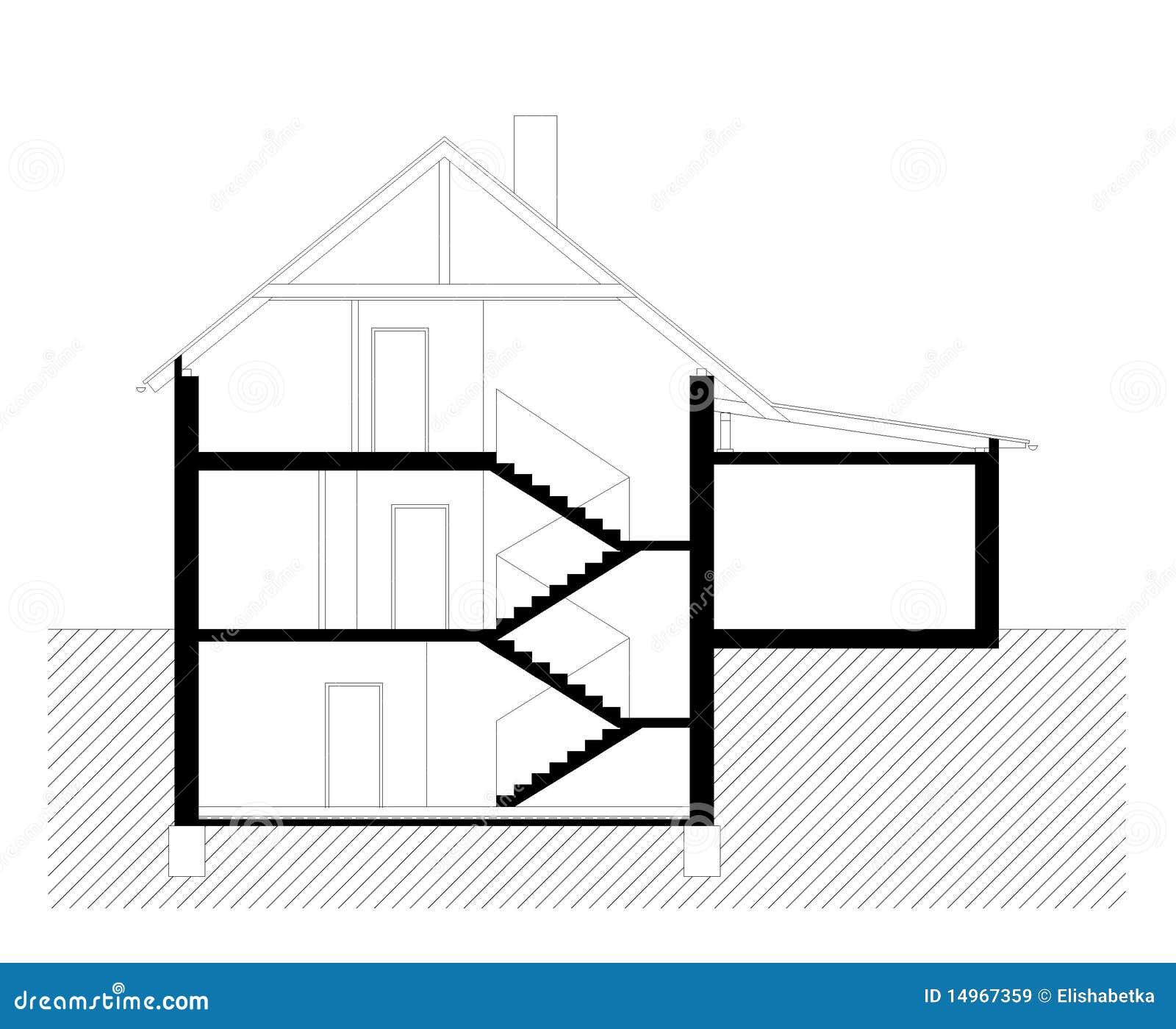 Sezione verticale della casa della famiglia illustrazione for Disegni della casa della cabina di ceppo