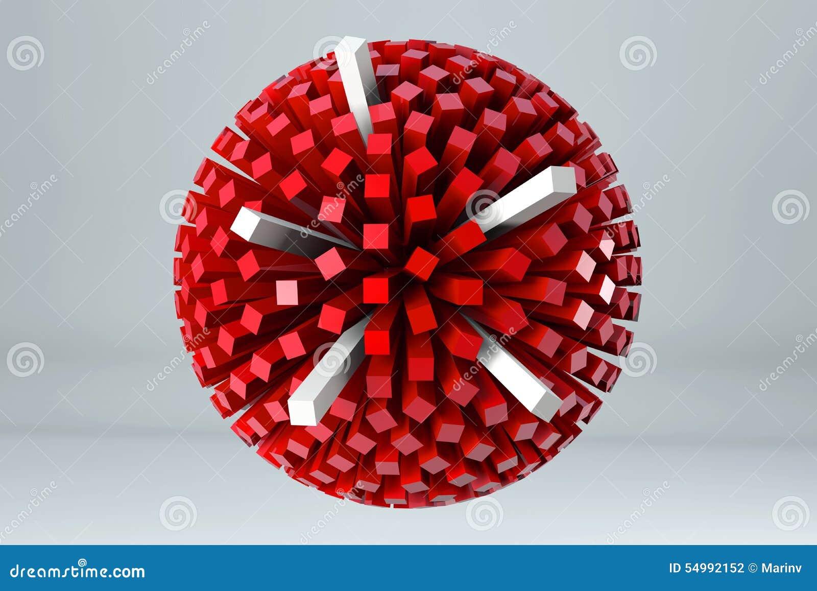 Sfären av kuber 3D framför bild