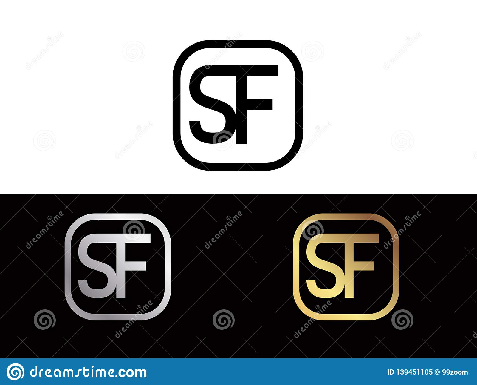 SF Initial box shape Gold color later Logo Design