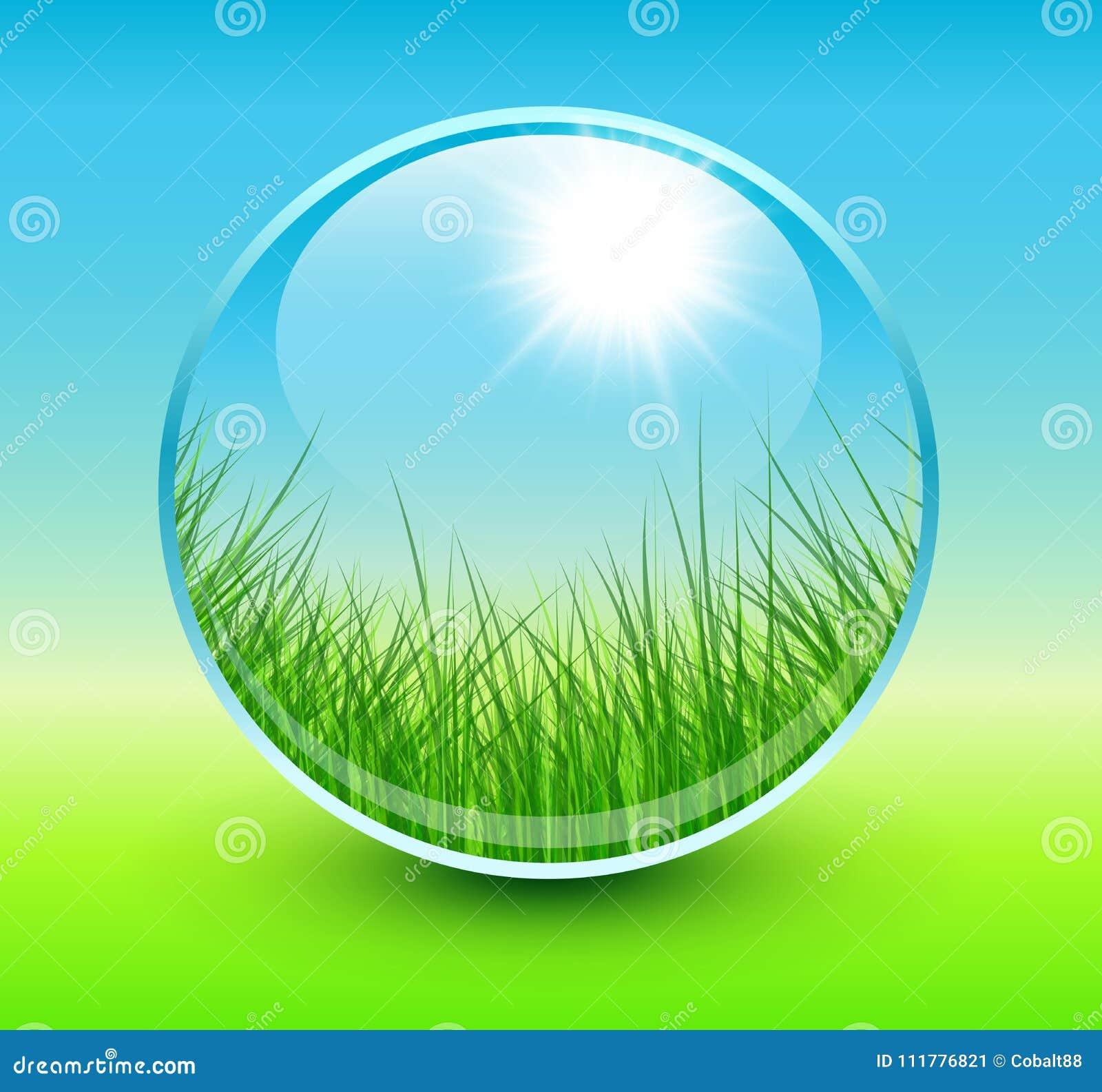 Sfera del fondo della primavera con erba dentro