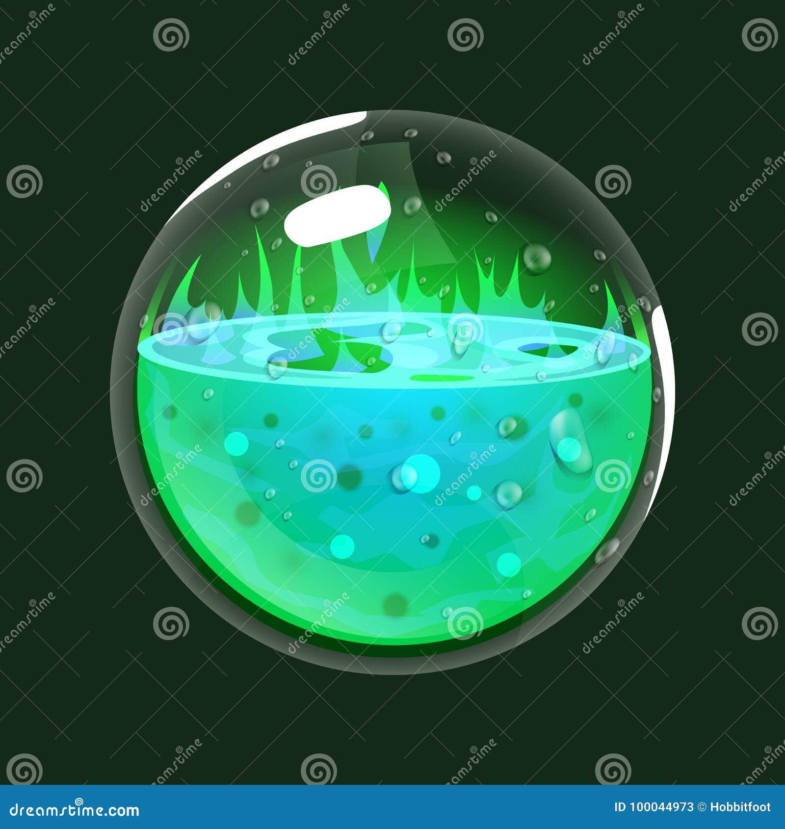 Sfera di acido Icona del gioco del globo magico Interfaccia per il gioco rpg o match3 Grande variante