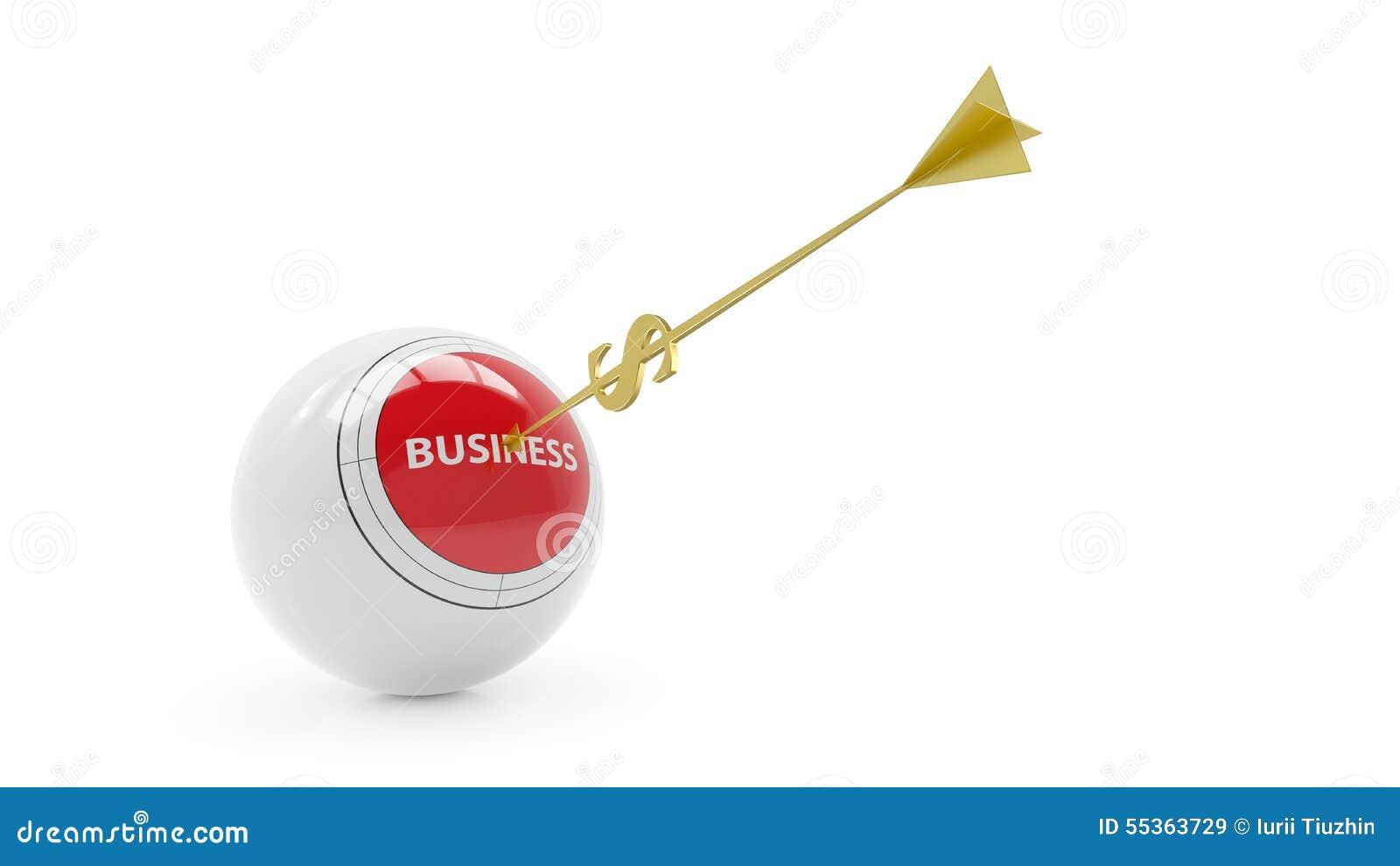Sfera di affari obiettivo Freccia dorata - dollaro